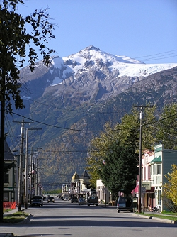Mount Harding and its glacier, dwarf historic Downtown Skagway Alaska.